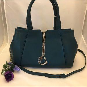 Versace Collection Large Shoulder Bag Teal Leather